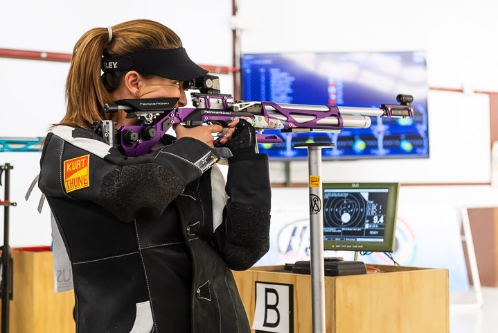 FORT BENNING - MAY 9: 8th placed Andrea ARSOVIC of Serbia competes in the 10m Air Rifle Women Final at the Shooting Range of the United States Army Marksmanship Unit during Day 1 of the ISSF World Cup Rifle/Pistol on May 9, 2018 in Fort Benning, Georgia, United States of America. (Photo by Nicolo Zangirolami)