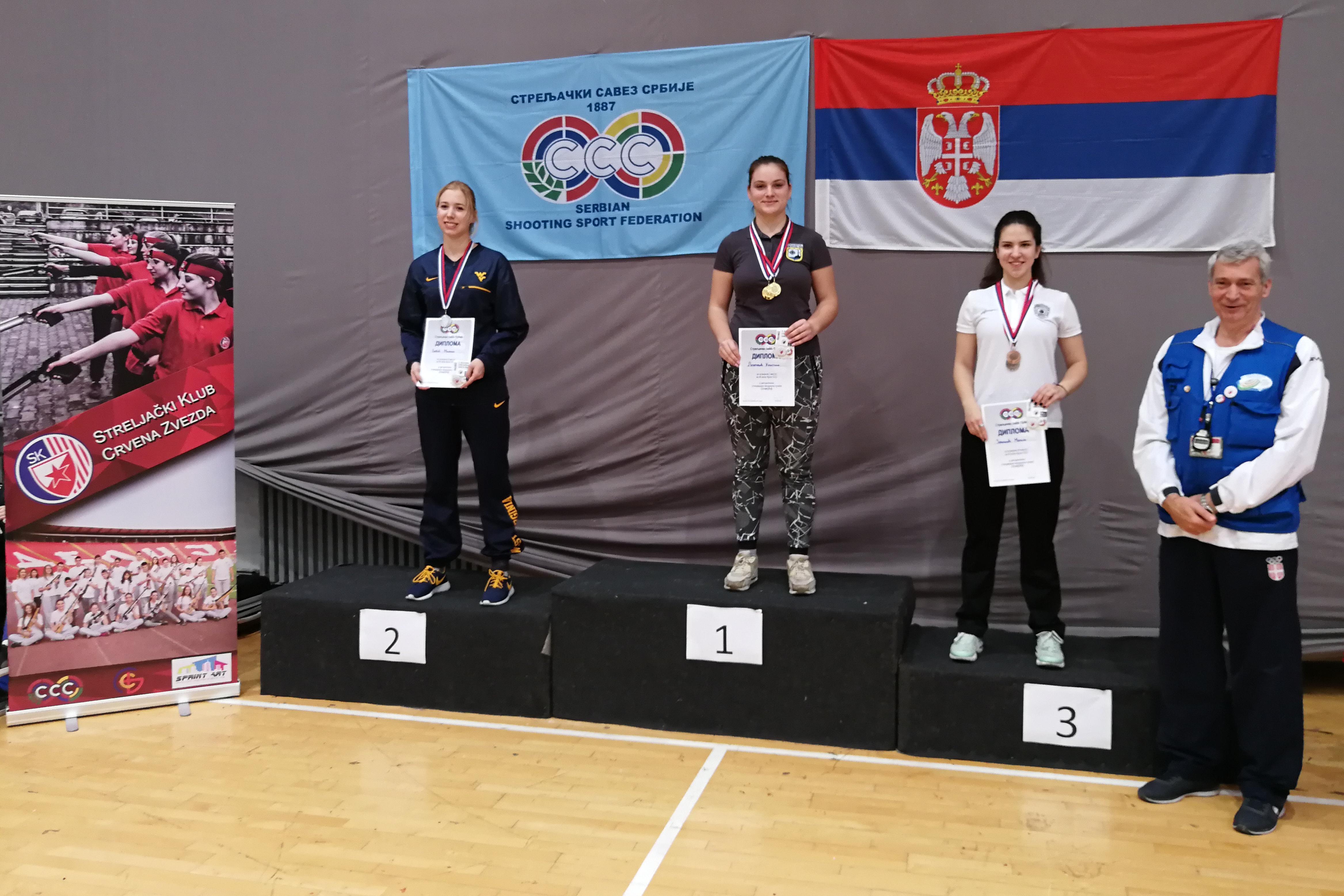 Medalje u takmičenju seniorki puškom podelile su takmičarke beogradskih klubova: 1. Kristina Lazarević (Novi Beograd - Ušće), 2. Milica Babić (Pobednik), 3. Marija Zavišić (Policajac)