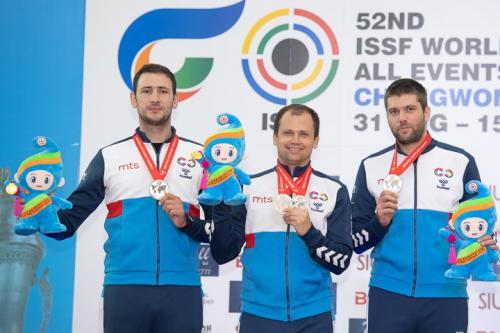 Tim Srbije: Petrov, Mikec, Grgic Foto: ISSF